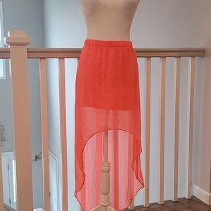 Express high/low sheer skirt